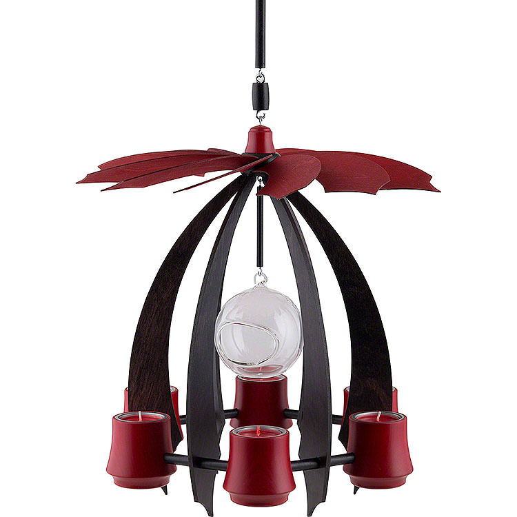 1 - Tier Hanging Pyramid NOVA  -  Anthracite/Rubyred  -  33cm / 13 inch