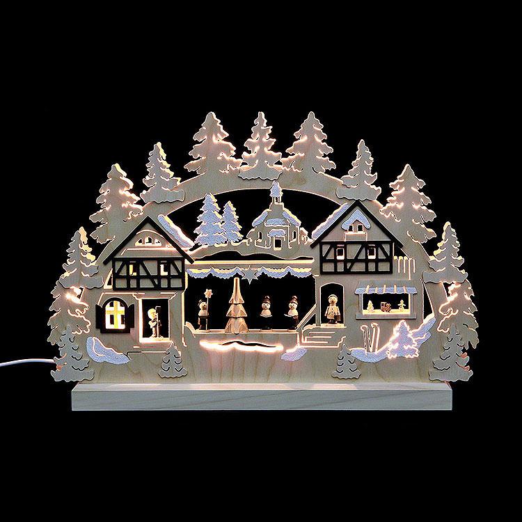3D - Doppelschwibbogen Seiffener Weihnachtsmarkt  -  42x30x4,5cm