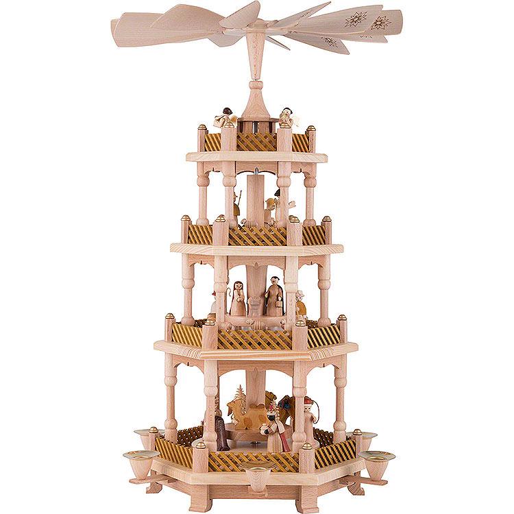 4 - stöckige Pyramide Christi Geburt natur  -  54cm