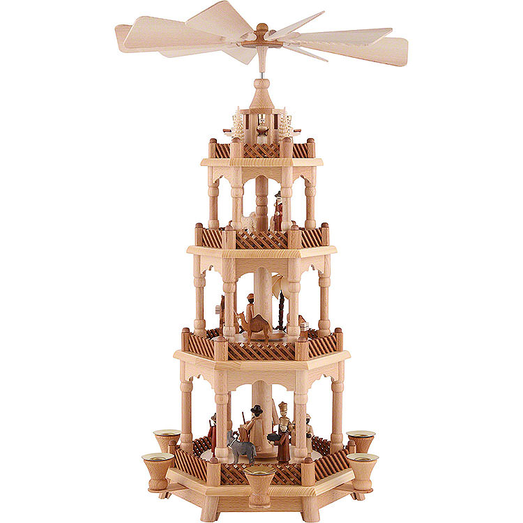 4 - stöckige Pyramide Christi Geburt, natur  -  58cm
