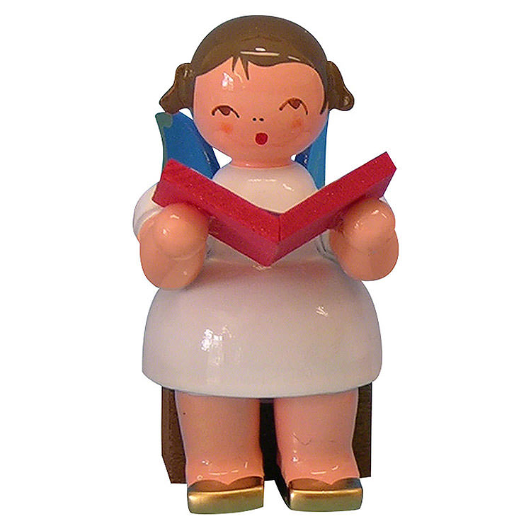 Angel with Book  -  Blue Wings  -  Sitting  -  5cm / 2 inch