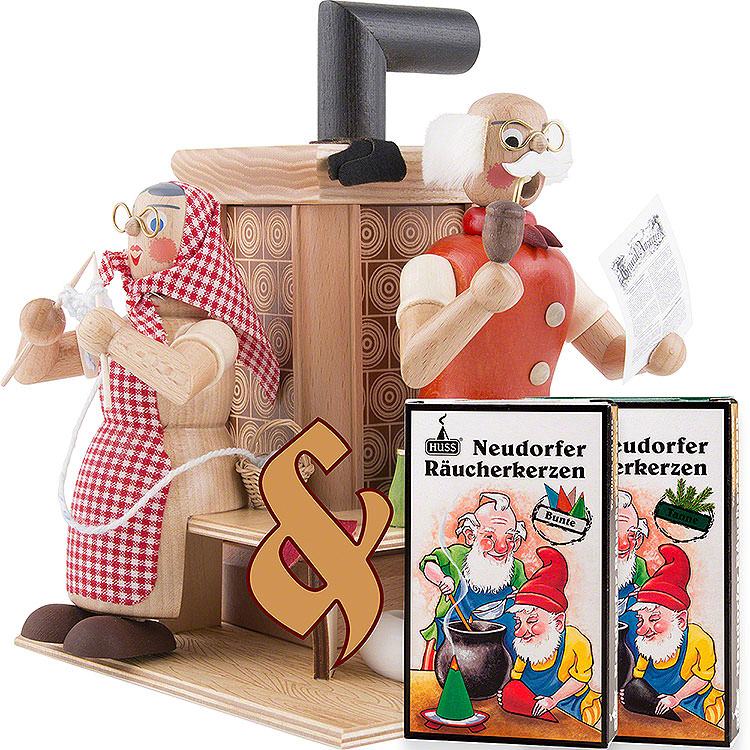 Bundle  -  Smoker Grandparents at Tiled Stove plus two packs of incense
