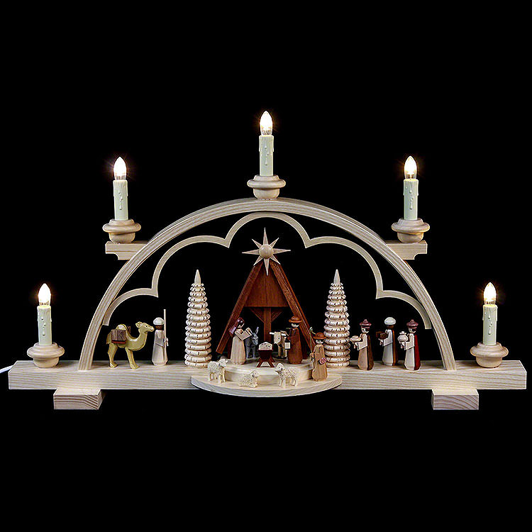Candle Arch  -  Nativity Scene  -  57cm / 22 inch  -  120 V Electr. (US - Standard)