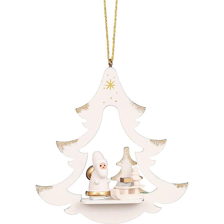 Christbaumschmuck Baum weiß mit Weihnachtsmann  -  8,7cm