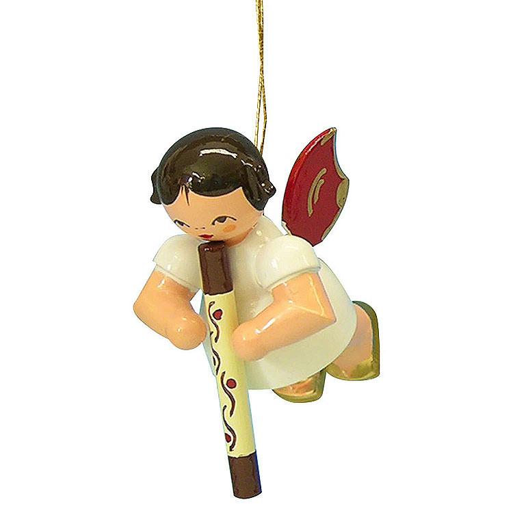 Christbaumschmuck Engel mit Didgeridoo  -  Rote Flügel  -  schwebend  -  5,5cm