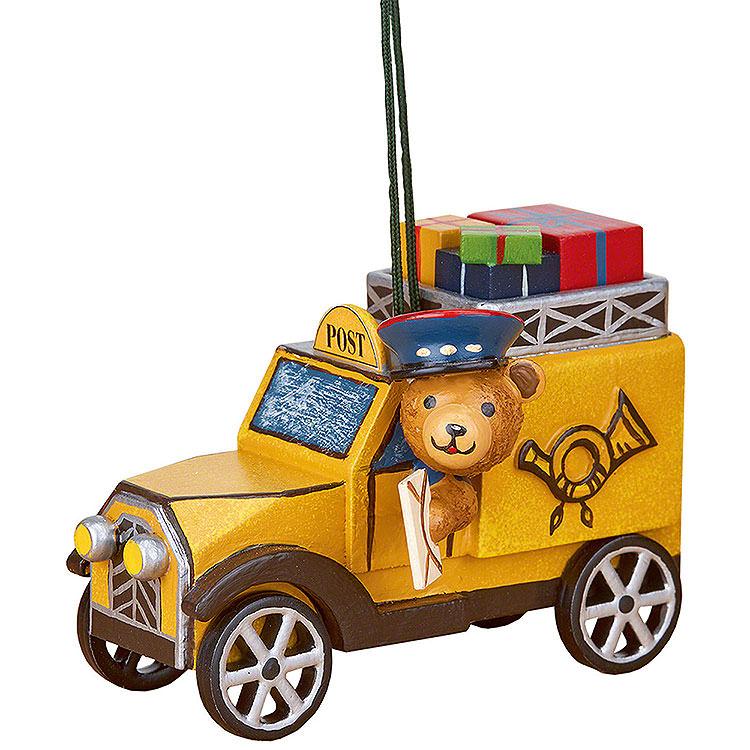 Christbaumschmuck Postauto mit Teddy  -  8cm