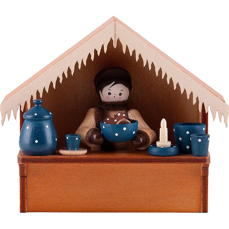 Christmas Market Stall Blue Pottery with Thiel Figurine  -  8cm / 3.1 inch