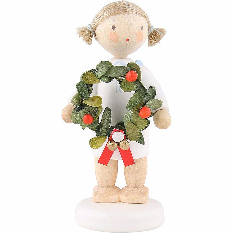 Flachshaarengel mit Weihnachtskranz  -  5cm