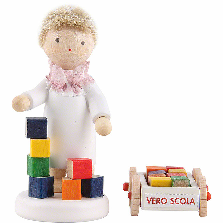 Flax Haired Angel with Blumenauer Building Set  -  5cm / 2 inch