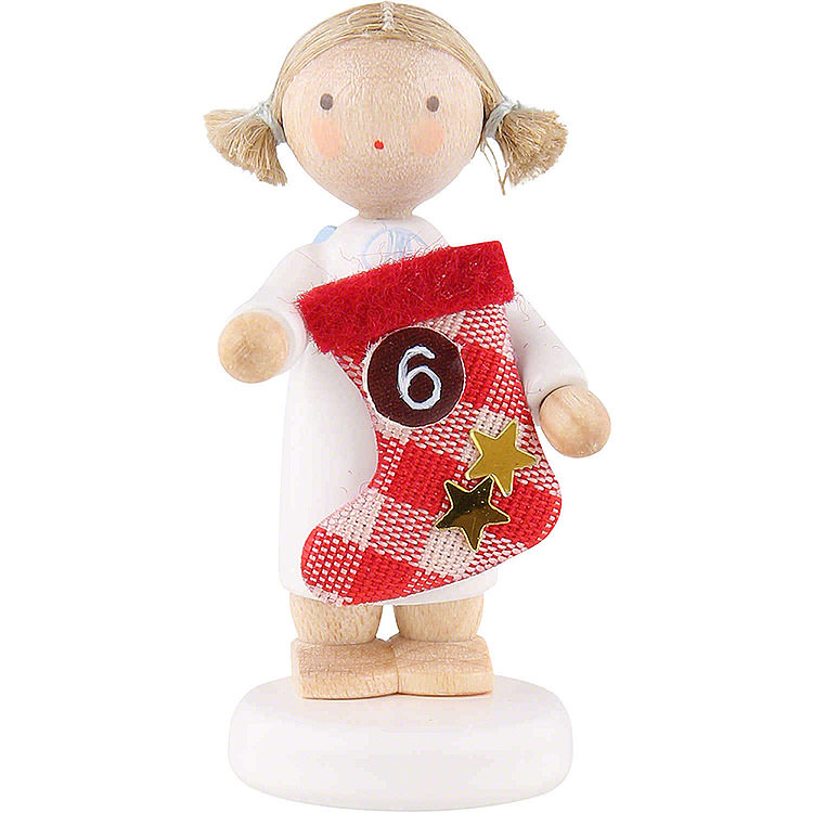 Flax Haired Angel with Boot (6)  -  5cm / 2 inch