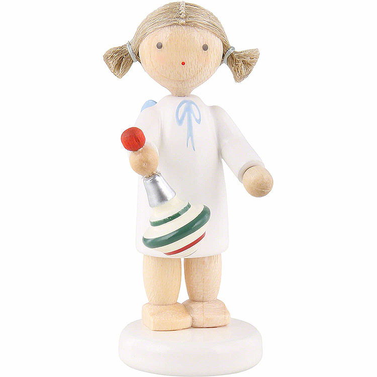 Flax Haired Angel with Humming Top  -  5cm / 2 inch