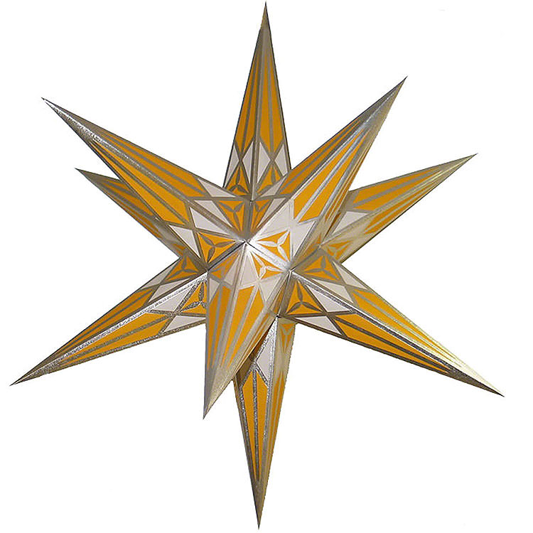Hartenstein Christmas Star for Inside Use  -  White - Yellow with Silver  -  68cm / 27 inch