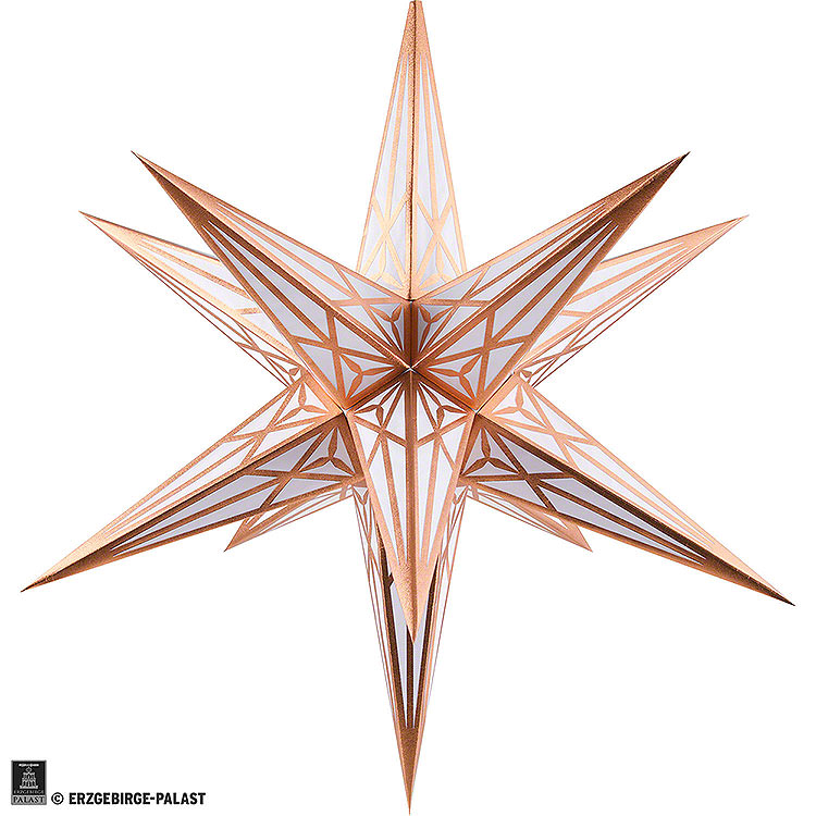 Hartenstein Christmas Star for Inside Use  -  White with Copper  -  68cm / 27 inch