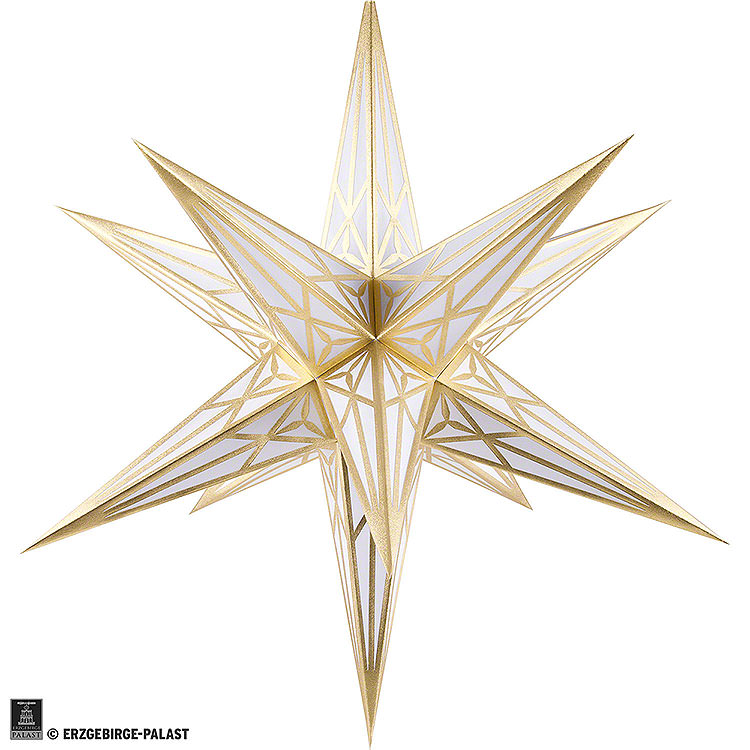 Hartenstein Christmas Star for Inside Use  -  White with Gold  -  68cm / 27 inch