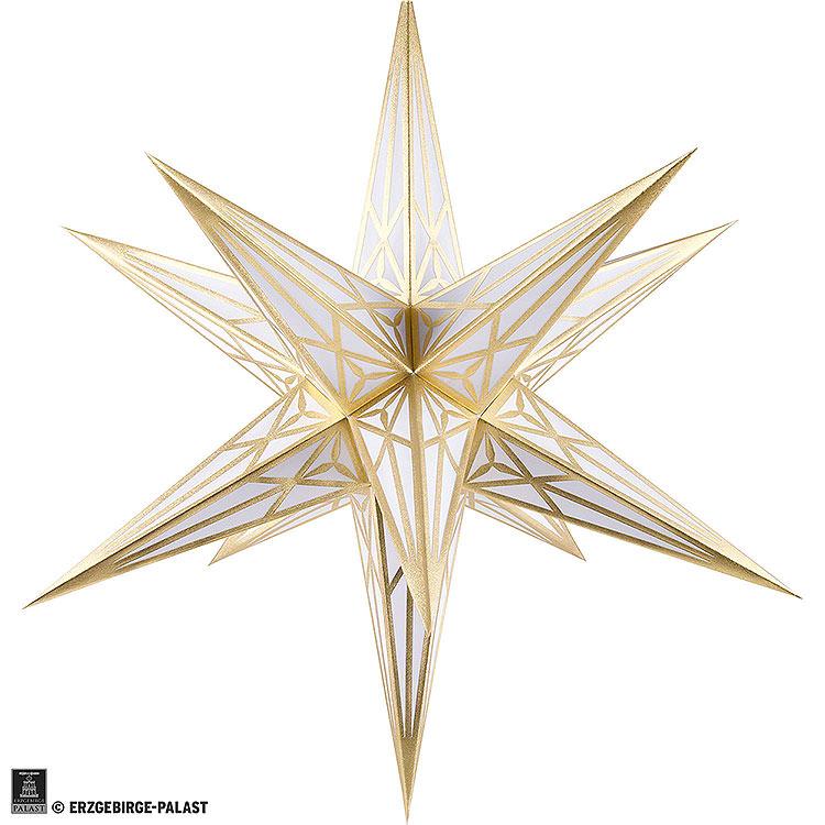 Hartensteiner Weihnachtsstern für Innen  -  weiß mit gold  -  68cm