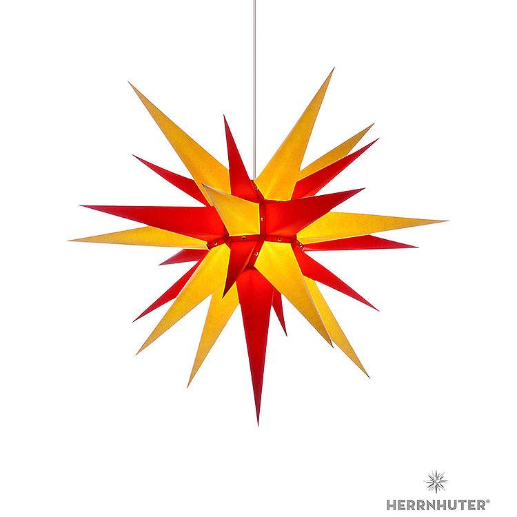 Herrnhuter Stern I7 gelb/rot Papier  -  70cm