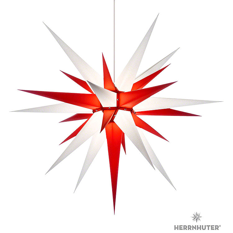 Herrnhuter Stern I8 weiß/rot Papier  -  80cm