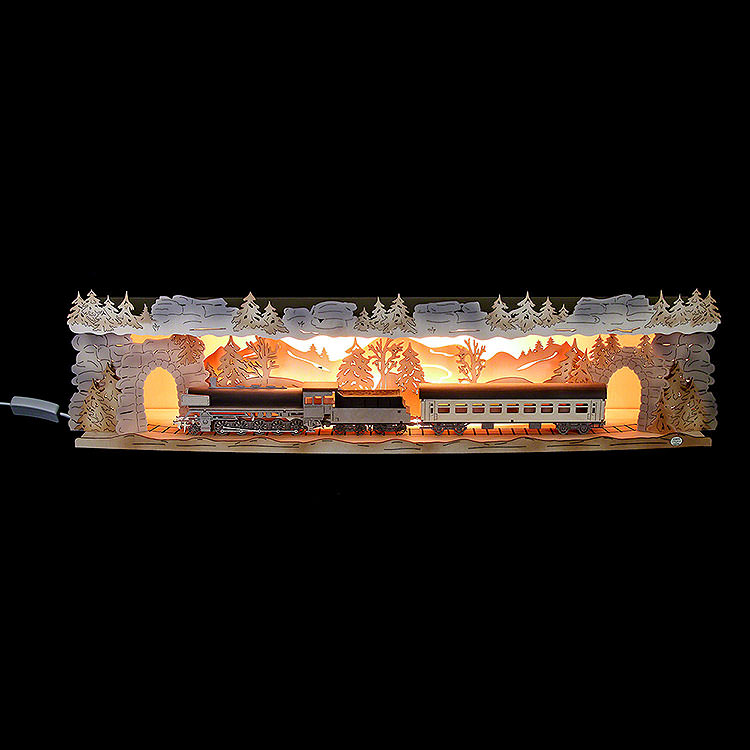 Illuminated Stand 'Train Ride Through the Ore Mountains' for Candle Arches  -  75x20x15cm / 29.5x7.9x5.9 inch