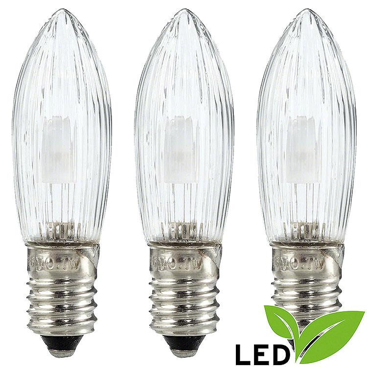 LED - Riffelkerze klar  -  Sockel E10  -  warmweiß  -  0,1 - 0,3W