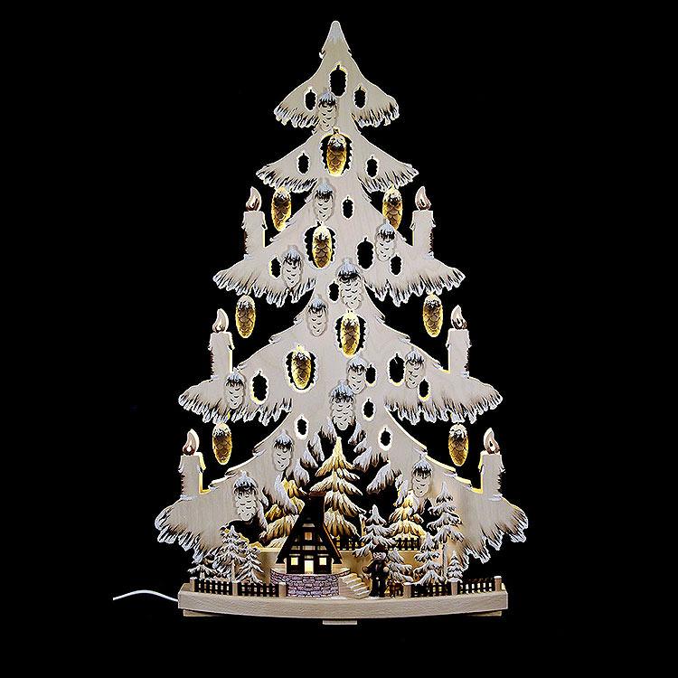 Lichterspitze Tannenbaum mit Waldhütte und Raureif  -  44x67x9cm