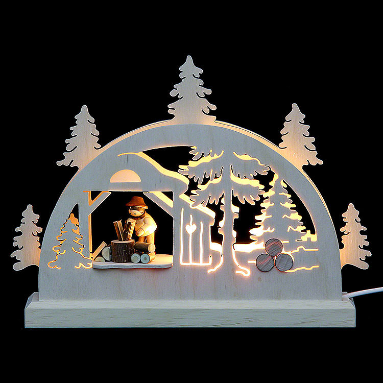 Mini - LED - Schwibbogen Holzhacker  -  23x15x4,5cm