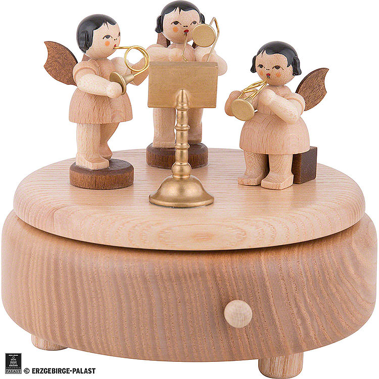 Music Box with Angels  -  Natural  -  12,5cm / 4.9 inch