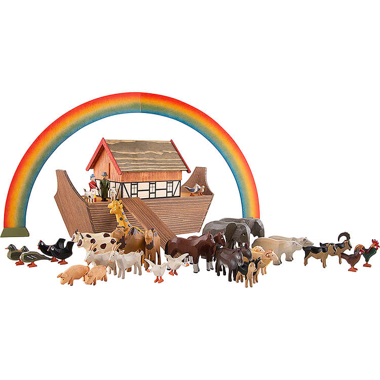 Noah's Ark with 36 Animals and 2 Figurines  -  19,5cm / 7.7 inch
