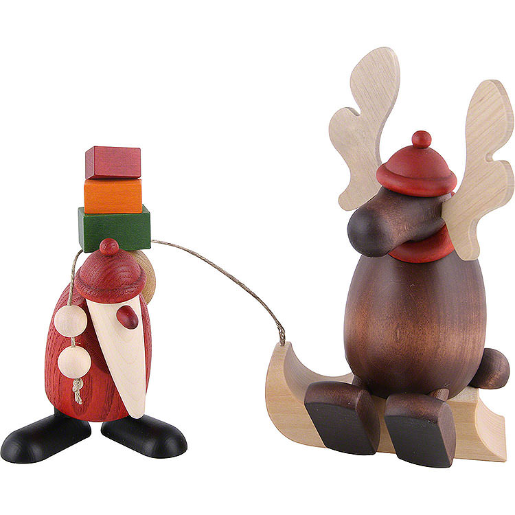 Santa Claus with Lazy Moose  -  15,5cm / 6.1 inch
