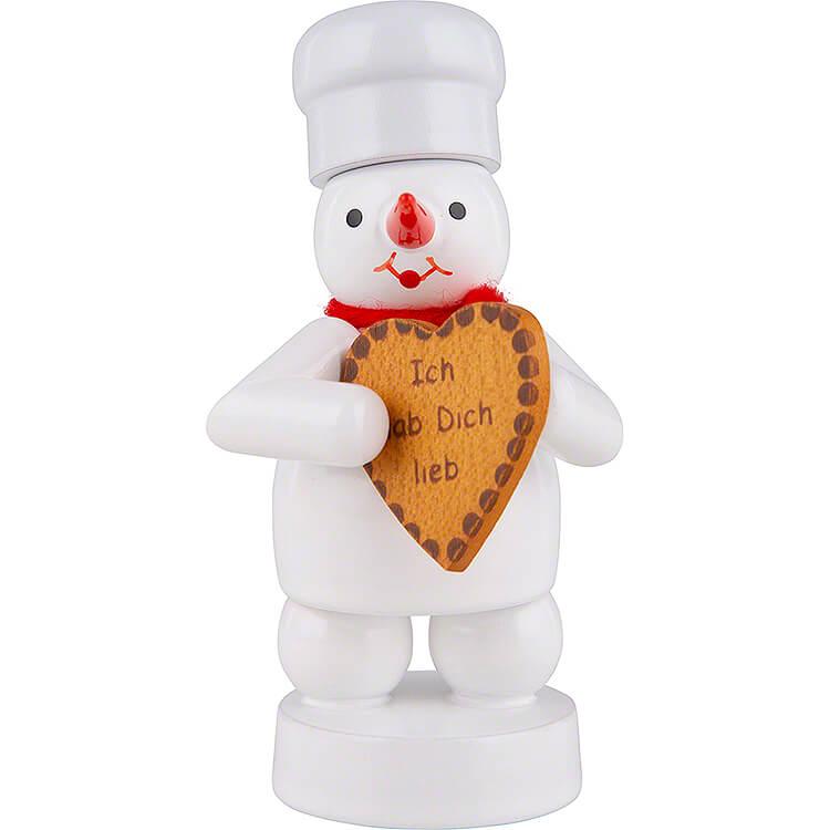 Schneemann Bäcker mit Lebkuchen - Herz  -  8cm