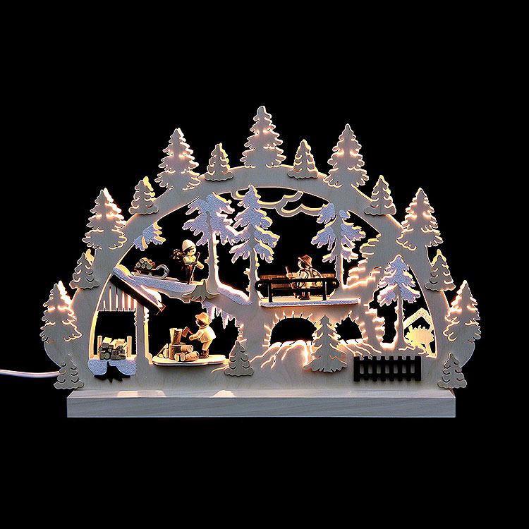 Schwibbogen Waldleute Holzstapel mit 3 Figuren  -  42x30x4,5cm