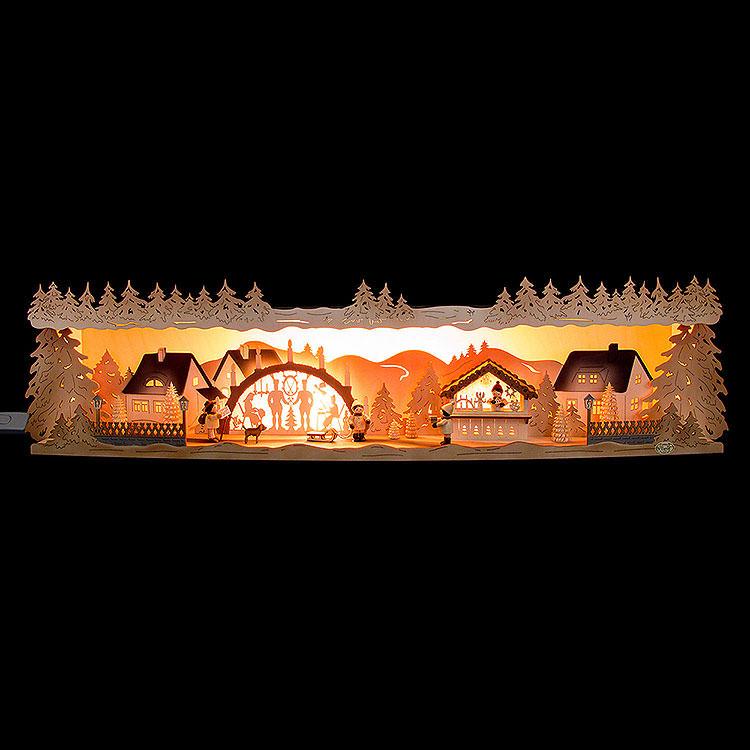 Schwibbogenerhöhung Weihnachtsidylle mit Schwibbogen 75x20x15cm