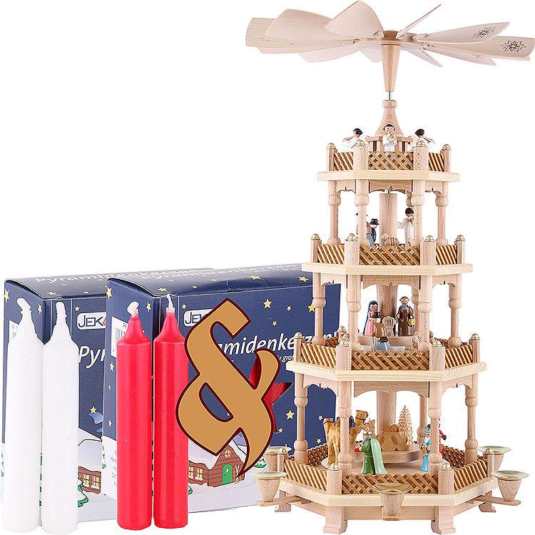Set 4 - stöckige Pyramide Christi Geburt bunt und zwei Packungen Kerzen rot/weiß