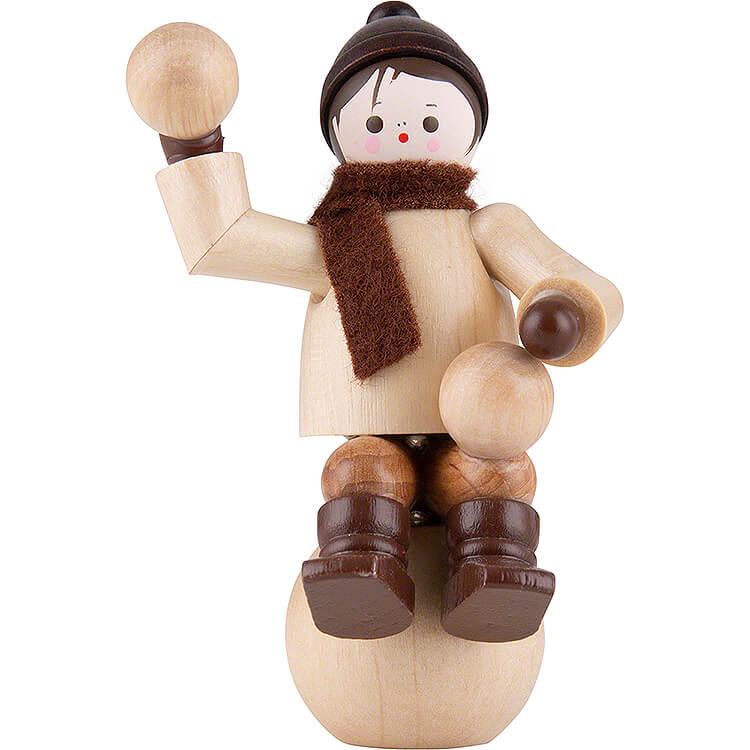Thiel Figurine  -  Winter Child on Snowball  -  natural  -  6cm / 2.4 inch