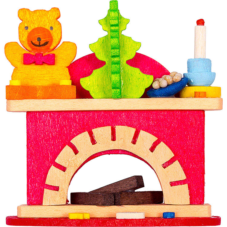 Tree Ornament  -  Little Fireplace with Teddy  -  6cm / 2.4 inch