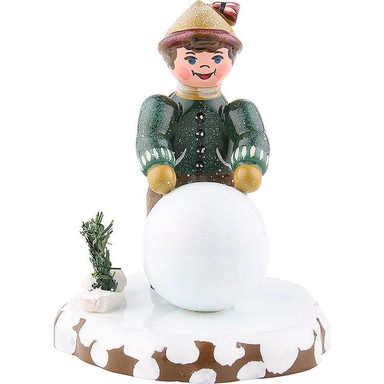 Winter Children Boy with Snowball  -  7cm / 3 inch