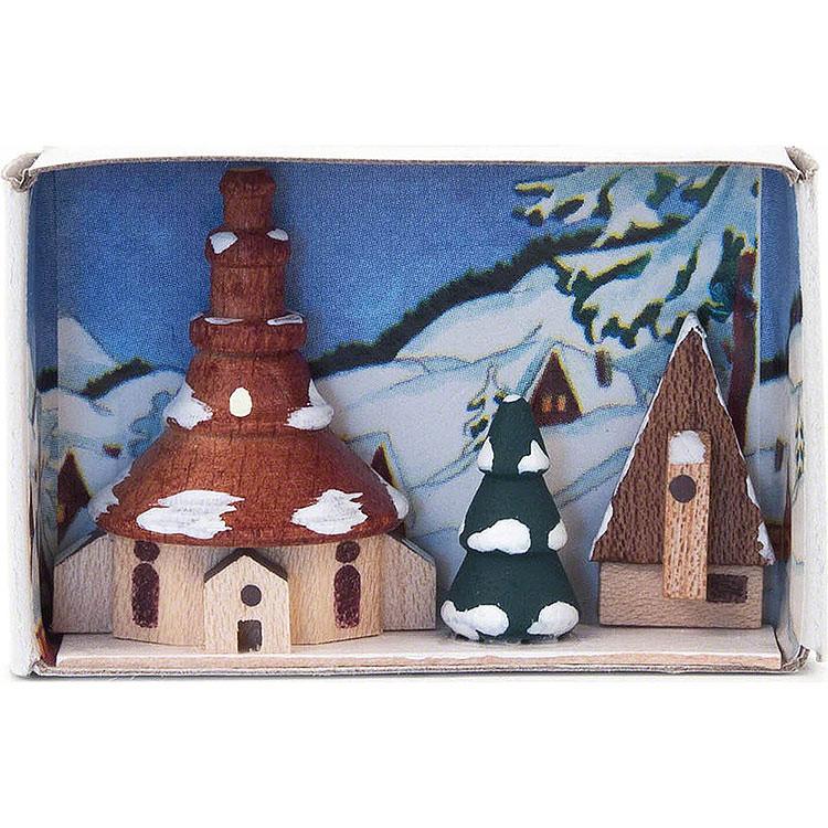 Zündholzschachtel Kirche Winter  -  4cm