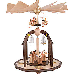 1 - Tier Bell Pyramid  -  Long Pleated Skirt Angels and Glass Bells  -  38x28cm / 15x11 inch