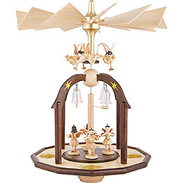 1 - Tier Bell Pyramid  -  Seven Angels and Glass Bells  -  38x28cm / 15x11 inch