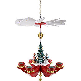1 - Tier Hanging Pyramid  -  Winter Children, Red  -  48x38x38cm / 18.5x15x15 inch
