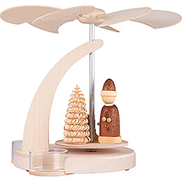 1 - Tier Pyramid Santa with Sled Natural  -  18cm / 7.1 inch
