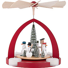 1 - Tier Pyramid  -  Snowmen, Ruby Red  -  25cm / 9.8 inch