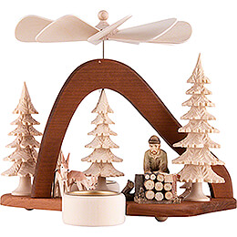 1 - Tier Pyramid  -  Solid Wood  -  Forest Worker  -  17cm / 6.7 inch