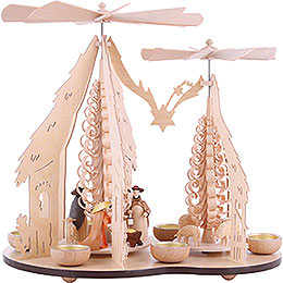 1 - Tier Pyramid  -  Two Winged Wheels  -  Nativity Scene  -  37x35cm / 14.5x14 inch