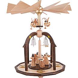 1 - stöckige Glöckchenpyramide mit Faltenlangrockengeln und Glasglöckchen  -  38x28cm