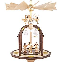 1 - stöckige Glöckchenpyramide mit sieben Engeln und Glasglöckchen  -  38x28cm