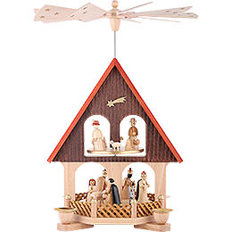 2 - Tier Pyramid  -  - House Nativity Scene  -  36cm / 14 inch