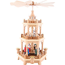 2 - Tier Pyramid  -  Nativity, Colored Figures  -  42cm / 16.5 inch