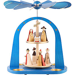 2 - Tier Pyramid  -  Nativity Scene, Blue  -  29cm / 11.4 inch