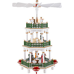 3 - Tier Pyramid  -  Nativity Scene White  -  35cm / 14 inch