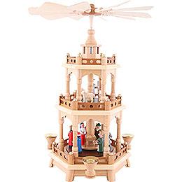 3 - stöckige Pyramide Christi Geburt, bunt  -  42cm